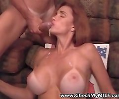 Super hot busty MILF taking loads in her face Must see